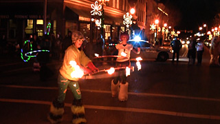 Fire Hooping in Christmas Parade